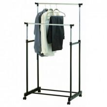Вешалка стойка для одежды напольная двойная телескопическая на колесиках LUX Double Pole Clothes Horse Черная (W1981)