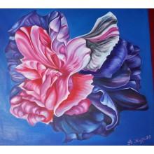 """Картина маслом """"Цветочная вселенная""""  холст 1*1,15м"""