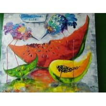 """Картина маслом """"Сладкая сладкая жизнь"""" птички и фрукты холст 70*80 см"""