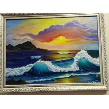 """Картина маслом """"Невероятное море"""" холст  50*70см +багет"""