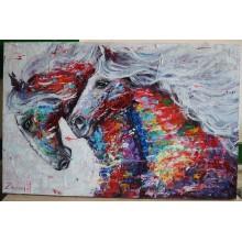 """Картина интерьерная """"Свободные лошади"""" на холсте ручной работы 100x65 см"""