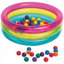 Детский надувной бассейн-манеж Intex 48674 + мячики (50шт) размер 86*86*25 см