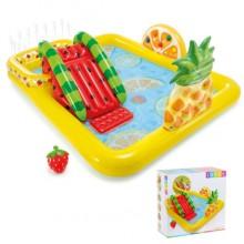 Детский надувной центр бассейн с горкой Intex 57158 Фрукты от 2х лет