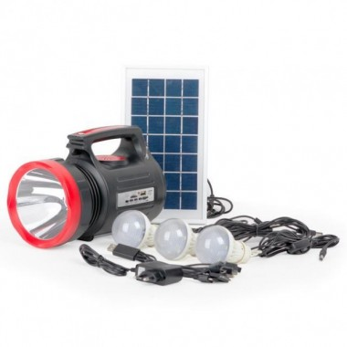 Фонарь аккумуляторный LB-01041LED 5W + 22 SMD Выносная солнечная панель Выносные 3 led лампы (кабель3м) Радио