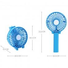 Ручной мини вентилятор на аккумуляторе с фонариком Handy Mini QFan USB диаметр 10см голубой