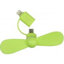 Мини вентилятор для телефона micro USB / Lightning зеленый