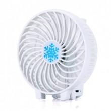 Ручной мини вентилятор на аккумуляторе с фонариком Handy Mini QFan USB диаметр 10см белый